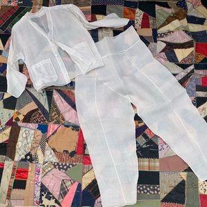Vintage Indian Sheer Linen Suit